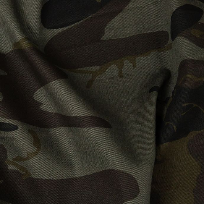 Army Green Camouflage Stretch Cotton Twill