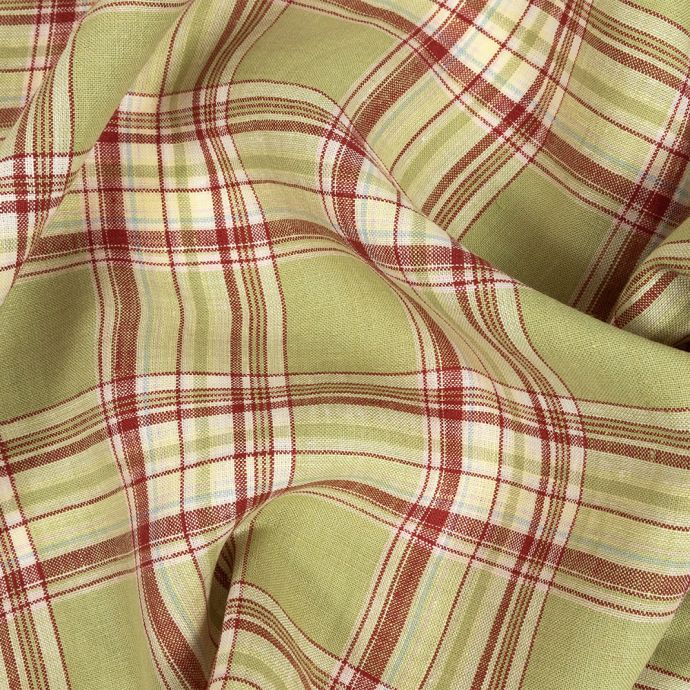 Sweet Pea and Red Plaid Linen Woven
