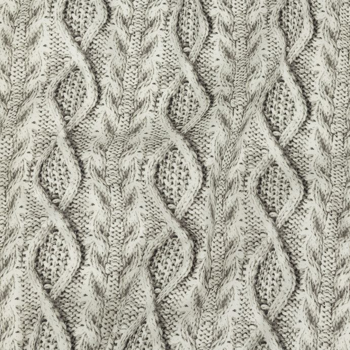 Lily White and Agate Gray Cable Knit Printed Stretch Linen and Rayon Woven