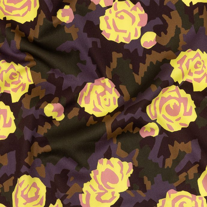 Mood Exclusive Yellow and Teak Camo Floral Incognito Stretch Cotton Sateen