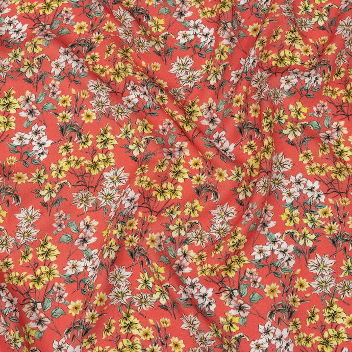 Mood Exclusive Strawberry Pink Dainty Daffodils Viscose Twill