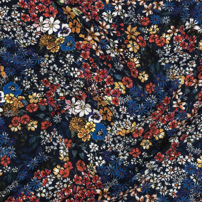 Mood Exclusive Maritime Blue Abounding Blossoms Viscose Twill