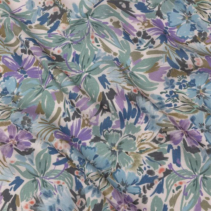 Mood Exclusive Lilac Daylily Dreamscape Viscose and Linen Twill
