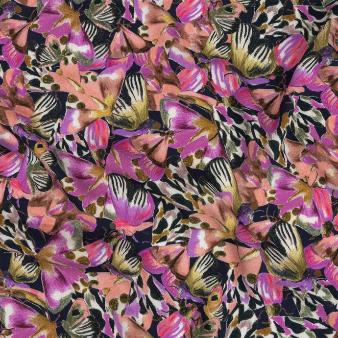 Mood Exclusive Pink and Midnight Navy Pastel Papillon Rayon Batiste