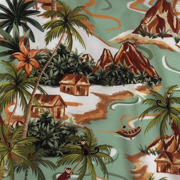 Mood Exclusive Green and Orange Seaside Sanctuary Cotton Voile