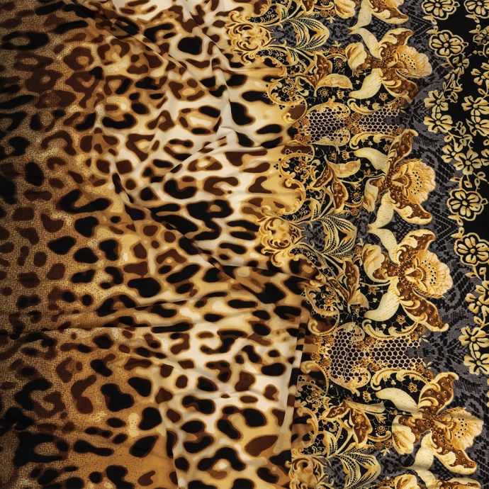 Leopard and Floral Border Printed Stretch Polyester and Spandex Knit Jersey