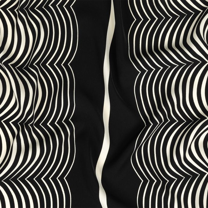 Famous NYC Designer Eggnog and Black Abstract Stretch Polyester Woven
