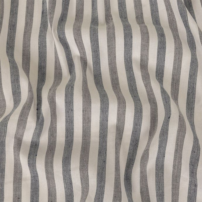 Indigo and Ivory Striped Stretch Linen and Rayon Woven