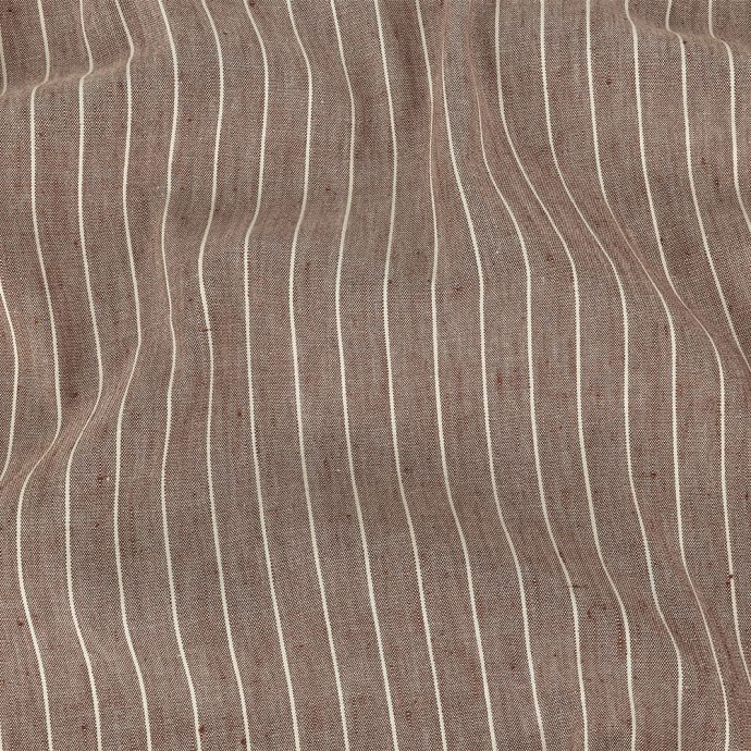 Cocoa and Eggnog Pencil Striped Stretch Linen and Rayon Woven