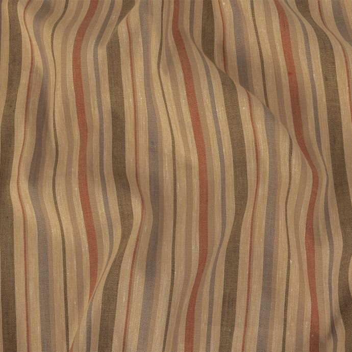 Olive, Tangerine and Smoke Gray Striped Stretch Linen and Rayon Woven