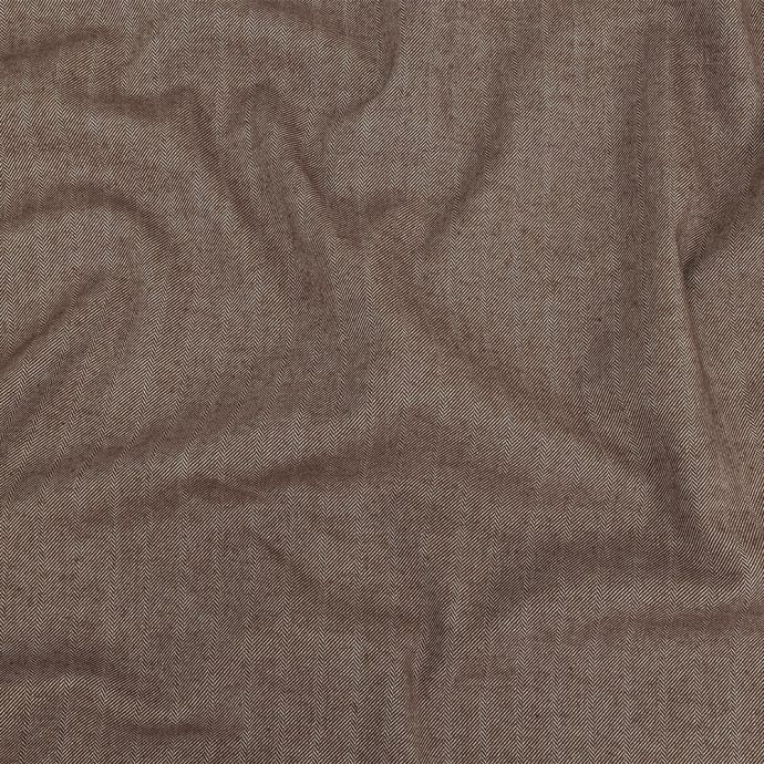Chestnut Herringbone Stretch Blended Cotton Suiting