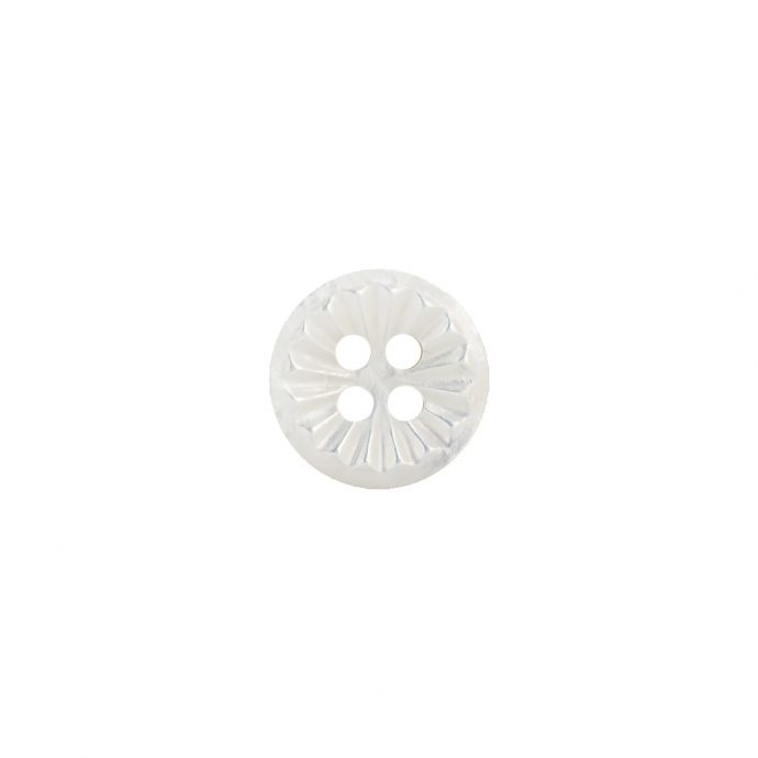 Antique White Geometric 4-Hole Mother of Pearl Button - 18L/11.5mm
