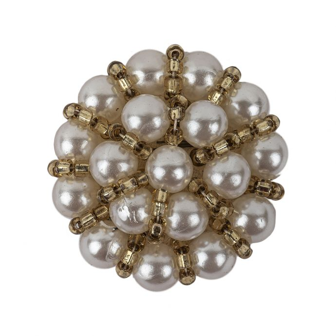 Vintage Pearl and Dull Gold-lined Beaded Button - 45L/29mm