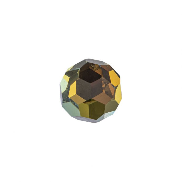 Vintage Swarovski Crystal and Tabac Faceted Shank Back Ball Button - 22L/14mm