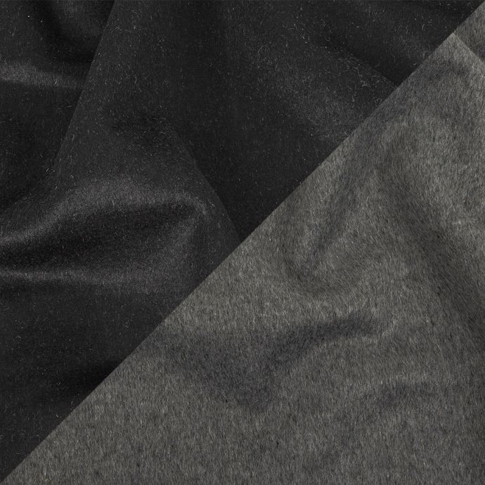 Black and Heathered Granite Gray Double-Faced Wool and Cashmere Double Cloth