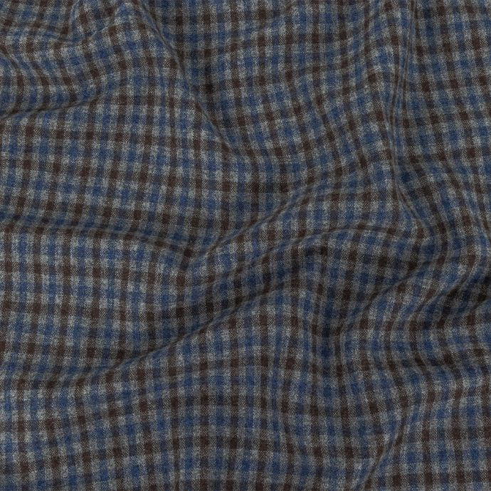 Italian Estate Blue, Gray and Brown Tattersall Check Super 100 Wool and Cashmere Suiting