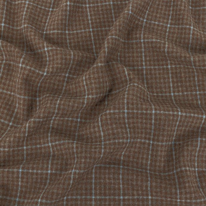 Italian Beige and Blue Plaid Super 100 Wool and Cashmere Suiting