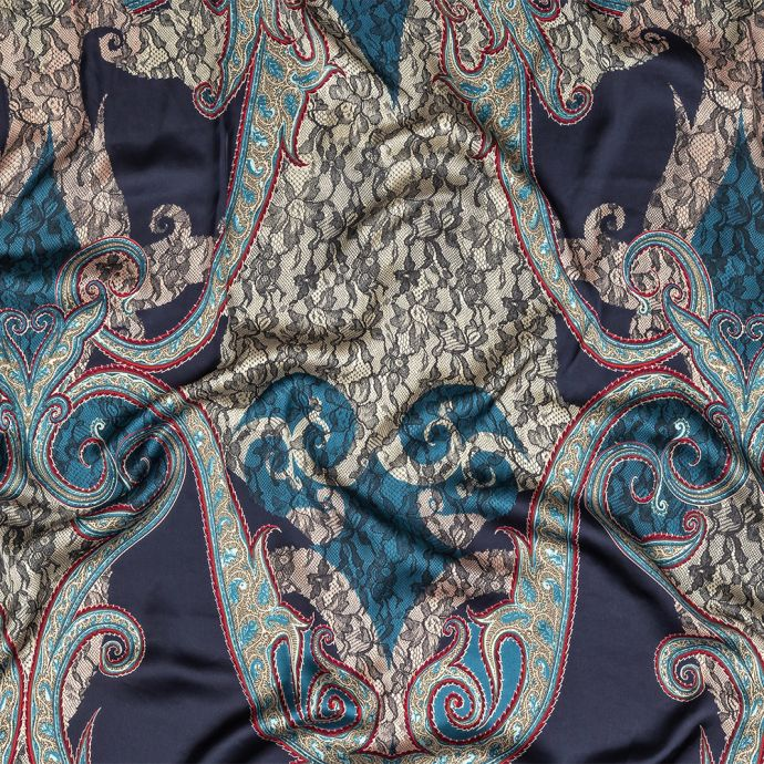 Blue Opal, Teal and Simply Taupe Paisley and Chantilly Lace Printed Polyester Lining