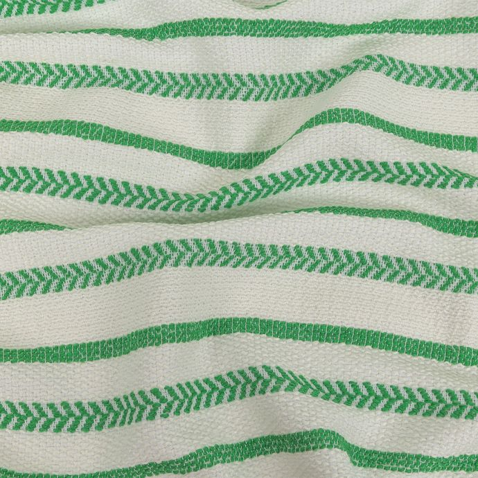 Italian White and Green Striped Hopsack Cotton Tweed