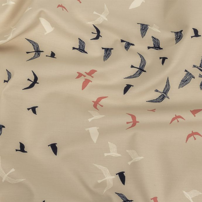 Garland Beige, Navy and Coral Birds Stretch Organic Cotton Double Cloth