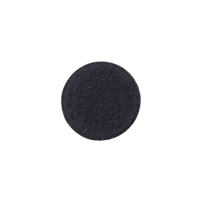 Black Fabric Covered Shallow Plate Silk Blended Sew On Button - 24L/15mm