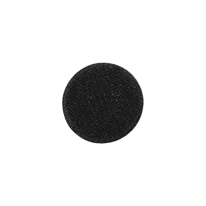 Black Chiffon Fabric Covered Smooth Top Silk and Metal Shank Back Button - 24L/15mm