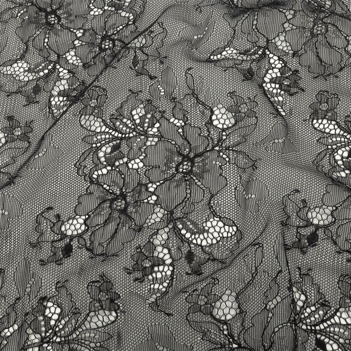 Black Floral Nylon and Rayon Chantilly Lace