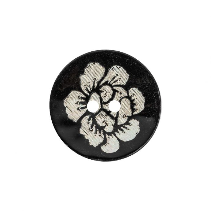 Black and Ivory Iridescent Lacquered Floral 2-Hole Shell Button - 36L/23mm