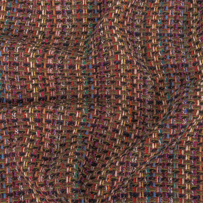 Italian Raspberry Sorbet Multicolor Blended Wool Tweed with Metallic Gold Accents