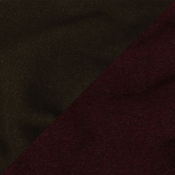 Olive Green and Heathered Wine Red Double Cloth Wool Knit