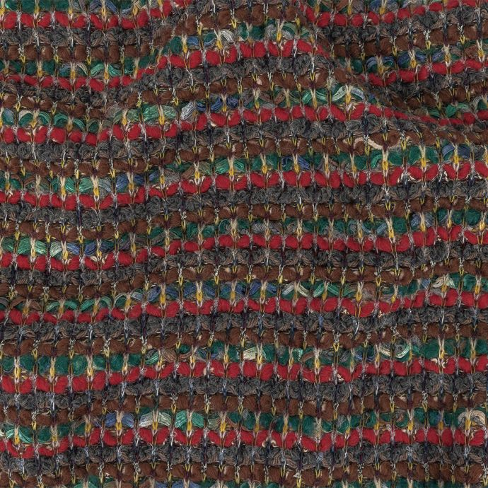 Red, Green and Brown Chunky Stripes Wool Knit