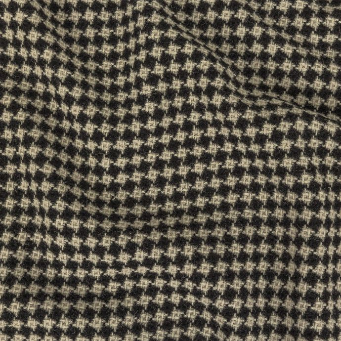 Black and White Houndstooth Wool Coating