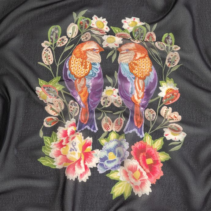Famous NYC Designer Black, Pink, and Green Lovebirds and Florals Polyester Georgette Panel