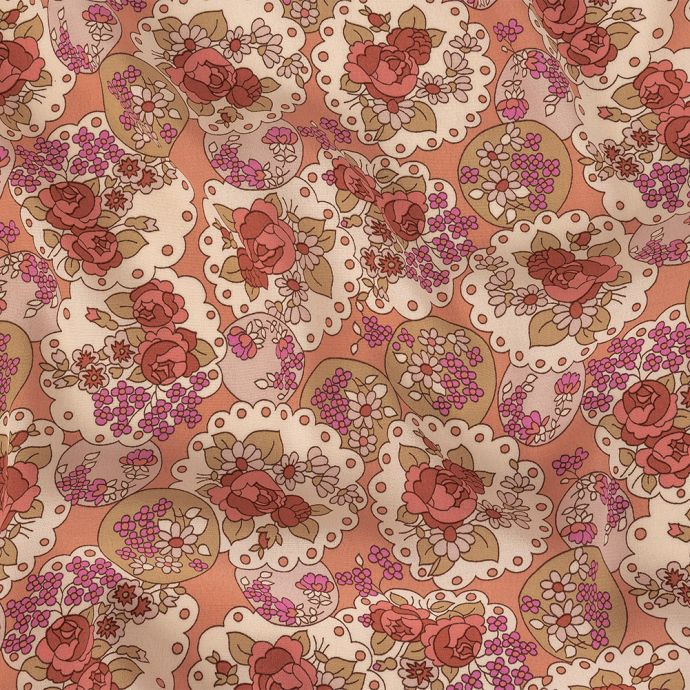 Italian Pink, Purple, and Cream Roses and Doilies Rayon Crepe