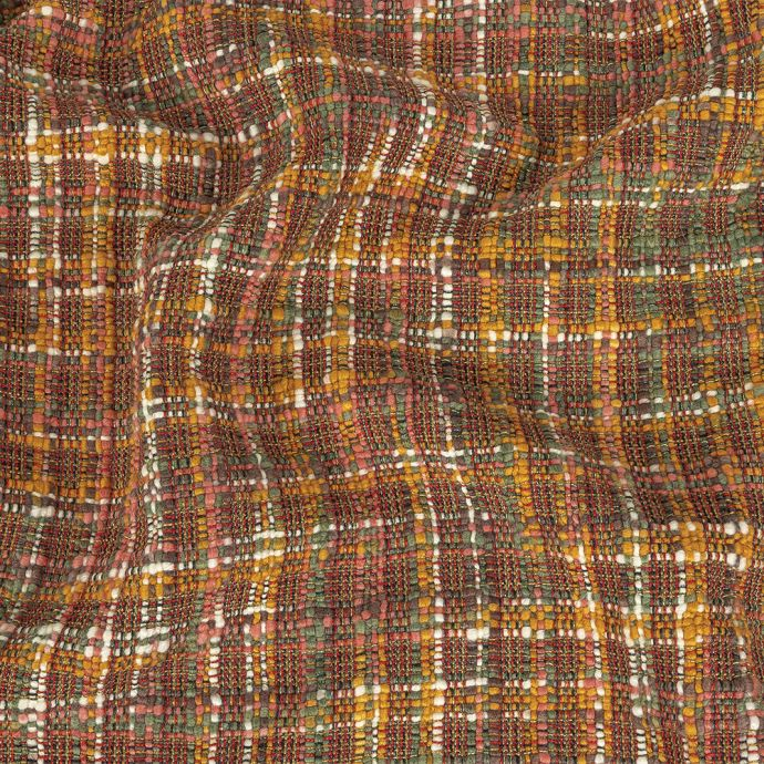 Italian Yellow Ochre, Loden Green, and Rose Plaid Tactile Wool Tweed