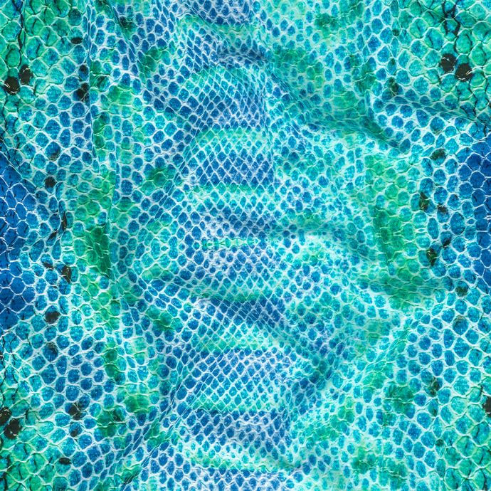 Blue and Teal Python UV Protective Compression Swimwear Tricot with Aloe Vera Microcapsules