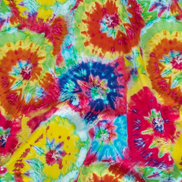 Bright Rainbow Wrinkled Tie Dye Spirals UV Protective Compression Swimwear Tricot with Aloe Vera Microcapsules
