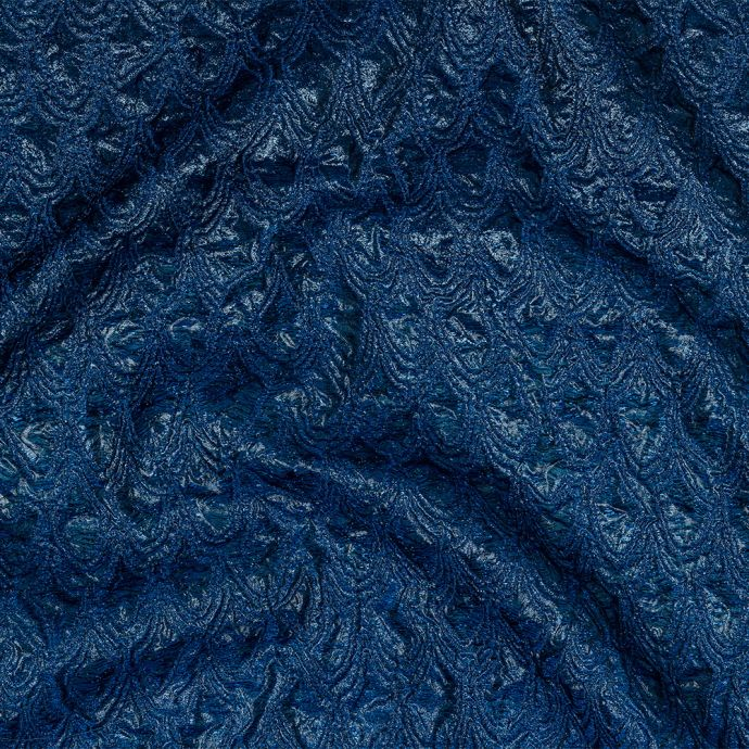 Mood Exclusive Metallic Magnetic Blue and Navy Feathers Ombre Luxury Brocade Panel