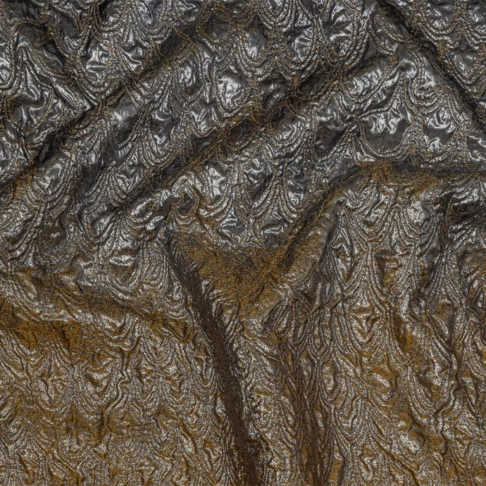 Mood Exclusive Metallic Mustard, Black and Silver Feathers Ombre Luxury Brocade Panel