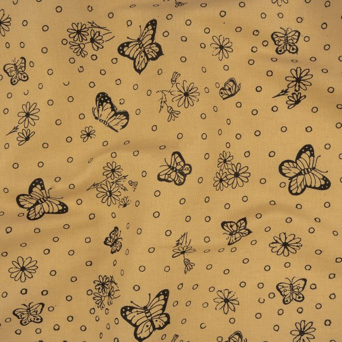 Cream and Black Butterfly Printed Linen Woven