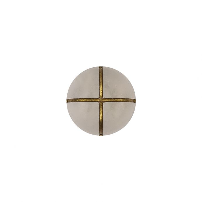 Frosted White and Gold Textured Shank Back Button - 20L/12.5mm
