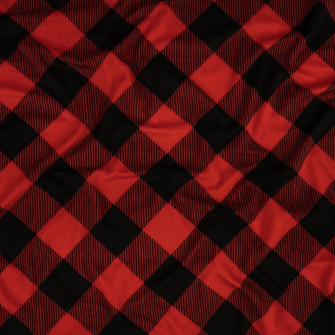 Red and Black Plaid Polyester Minky Fleece