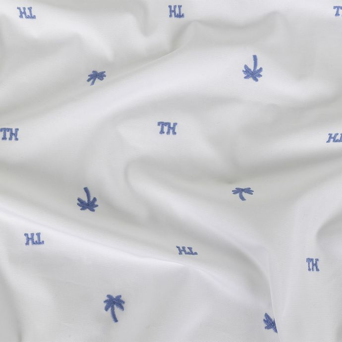 Tommy Hilfiger White and French Blue Palm Trees Embroidered Cotton Woven