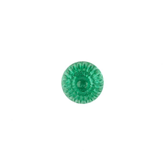 Translucent Kelly Green Abstract Radiating Shank Back Glass Button - 16L/10mm