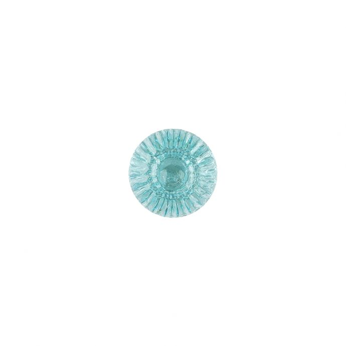 Translucent Pale Turquoise Abstract Radiating Shank Back Glass Button - 16L/10mm