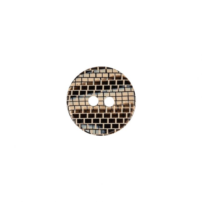 Italian Frosted Almond, Gray and Brown Brick Patterned 2-Hole Smooth Top Plastic Button - 20L/12.5mm