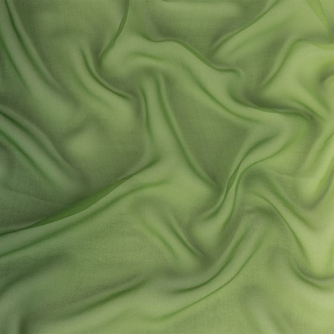 Forest and Pale Green Ombre Silk Chiffon