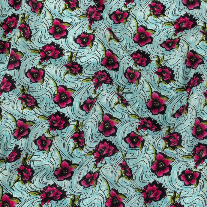 Pink, Sky Blue and Lime Floral Waves Silk Crepe de Chine