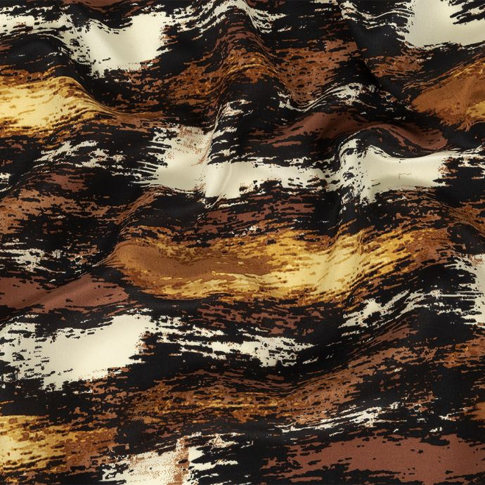 Black, Brown and Beige Abstract Silk Crepe de Chine