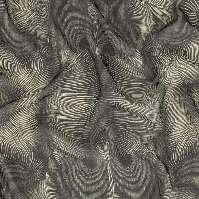 Black and White Abstract Stripes Silk Chiffon
